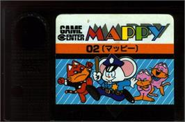 Cartridge artwork for Mappy on the MSX.