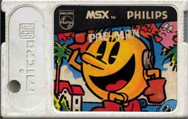 Cartridge artwork for Pac-Man on the MSX.