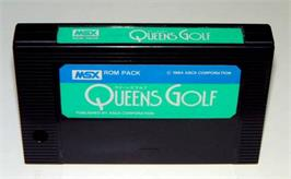 Cartridge artwork for Queen's Golf on the MSX.