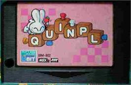 Cartridge artwork for Quinpl on the MSX.