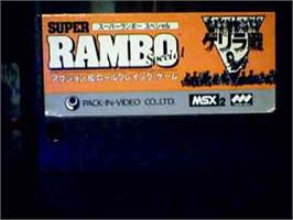 Cartridge artwork for Super Rambo Special on the MSX.