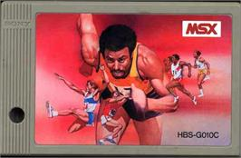 Cartridge artwork for Track & Field 2 on the MSX.