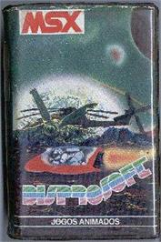 Cartridge artwork for Turboat on the MSX.