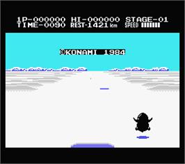 In game image of Antarctic Adventure on the MSX.