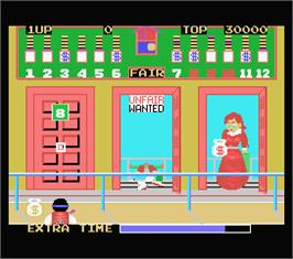 In game image of Bank Panic on the MSX.