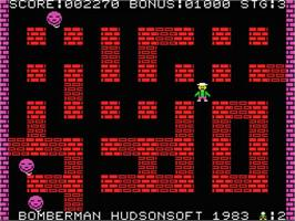 In game image of Bomberman on the MSX.