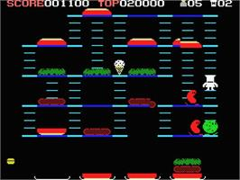 In game image of Burger Time on the MSX.