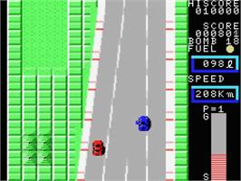 In game image of Car Fighter on the MSX.