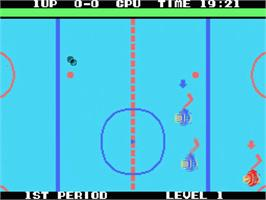 In game image of Champion Ice Hockey on the MSX.