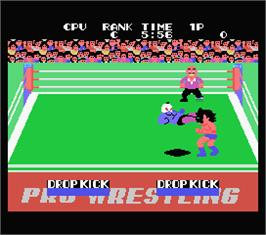 In game image of Champion Pro Wrestling on the MSX.