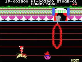 In game image of Circus Charlie on the MSX.