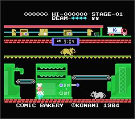 In game image of Comic Bakery on the MSX.