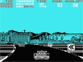 In game image of Continental Circus on the MSX.