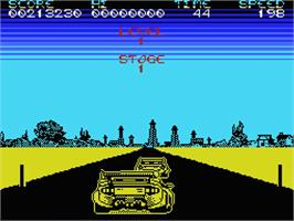 In game image of Crazy Cars on the MSX.