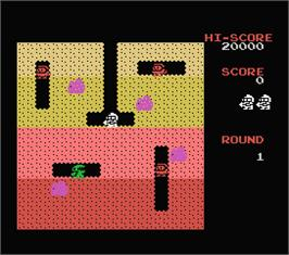 In game image of Dig Dug on the MSX.