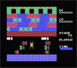 In game image of Frogger on the MSX.
