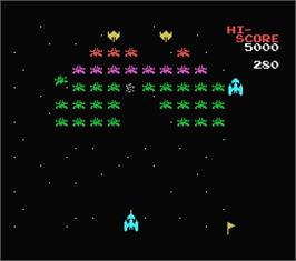In game image of Galaxian on the MSX.