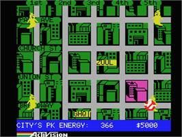 In game image of Ghostbusters on the MSX.