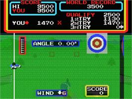 In game image of Hyper Sports 2 on the MSX.