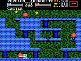 In game image of Knightmare 2: The Maze of Galious on the MSX.