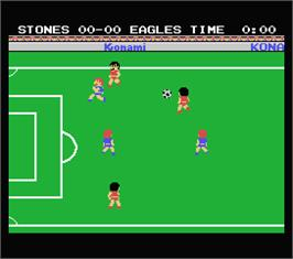 In game image of Konami's Soccer on the MSX.
