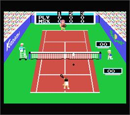 In game image of Konami's Tennis on the MSX.