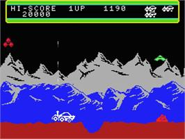 In game image of Moon Patrol on the MSX.