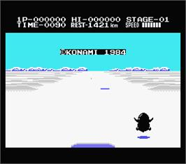 In game image of Penguin Adventure on the MSX.