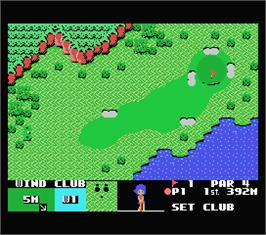 In game image of Queen's Golf on the MSX.
