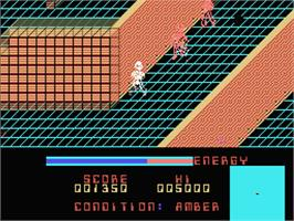 In game image of Rad Warrior on the MSX.
