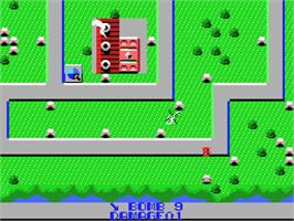 In game image of Raid on Bungeling Bay on the MSX.