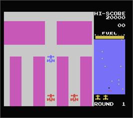 In game image of Rally X on the MSX.