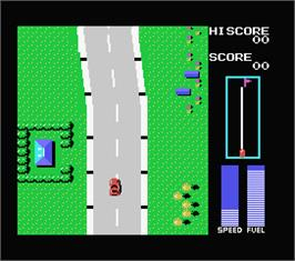 In game image of Road Fighter on the MSX.