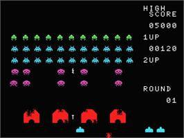 In game image of Space Invaders on the MSX.