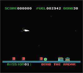 In game image of Star Blazer on the MSX.