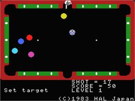In game image of Super Billiards on the MSX.