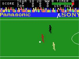 In game image of Super Soccer on the MSX.