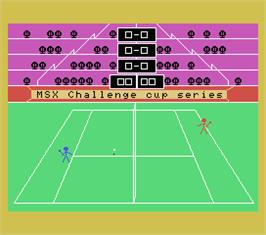 In game image of Tennis on the MSX.