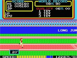 In game image of Track & Field on the MSX.