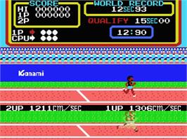 In game image of Track & Field 2 on the MSX.