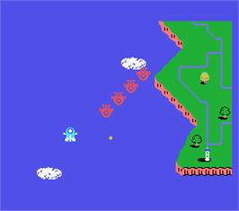 In game image of TwinBee on the MSX.