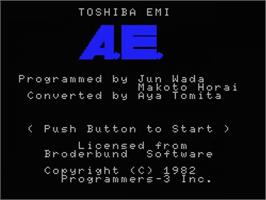 Title screen of A.E. on the MSX.