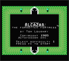 Title screen of Alcazar: The Forgotten Fortress on the MSX.