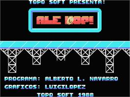 Title screen of Ale Hop on the MSX.