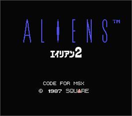 Title screen of Aliens on the MSX.