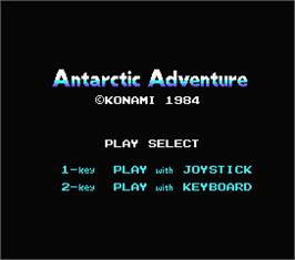 Title screen of Antarctic Adventure on the MSX.
