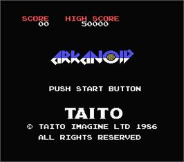 Title screen of Arkanoid on the MSX.