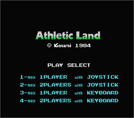 Title screen of Athletic Land on the MSX.