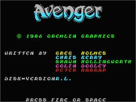 Title screen of Avenger on the MSX.