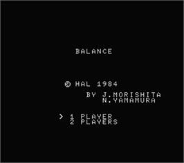 Title screen of Balance on the MSX.
